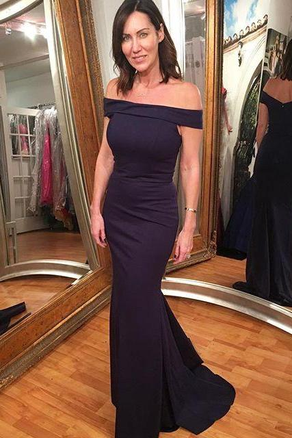Gorgeous Navy Blue Off The Shoulder Evening Gown,Mermaid Party Dress Long