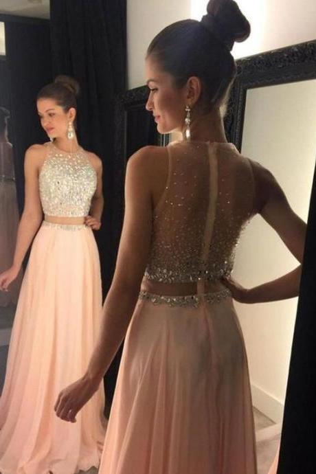 Beaded Pink Two Piece Prom Dress,2017 Sleeveless Formal Gown With Sheer Back