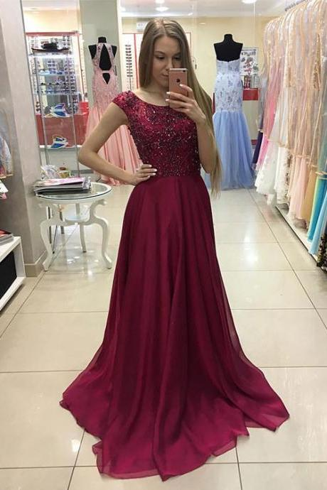 Beaded Burgundy Prom Dress, Cap Sleeve Formal Gown,Open Back Chiffon Prom Gown