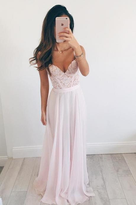 Light Pink Sweetheart Prom Dress,Chiffon Long Party Dress With Lace Appliques Bodice, Thin Straps