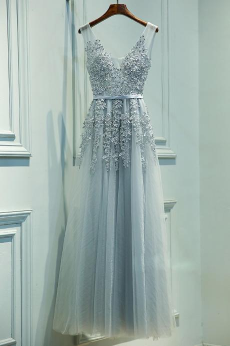 Silver Grey V Neck Prom Dress, Tulle Formal Gown, 2017 Prom Gown With Lace Appliques