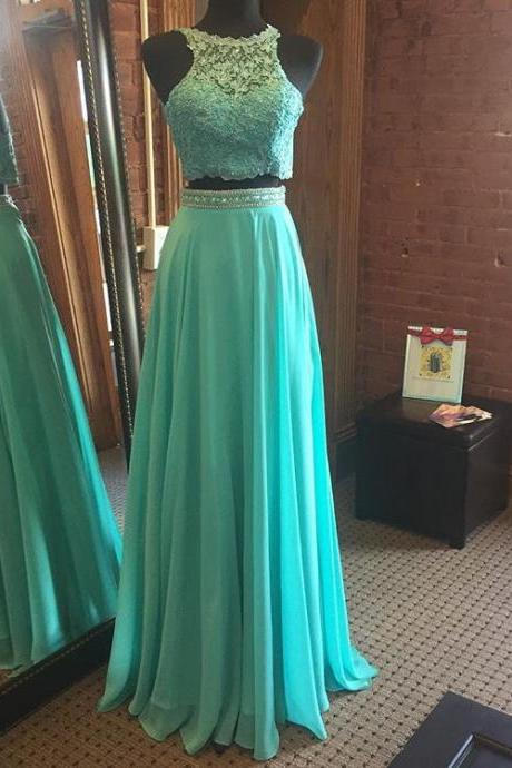 Mint Green Two Piece Prom Dress, Keyhole Back Formal Gown With Lace Appliques Crop Top