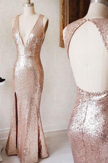 Rose Gold Sequin V Neck Formal Gown,Backless Fitted Prom Dress, Bridesmaid Gown With Side Slit