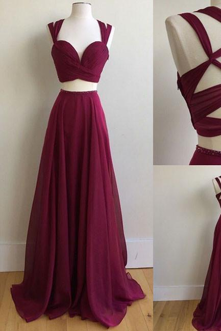Ruby Sweetheart Two Piece Prom Dress, Chiffon Formal Gown,Party Dress With Cut Out Back