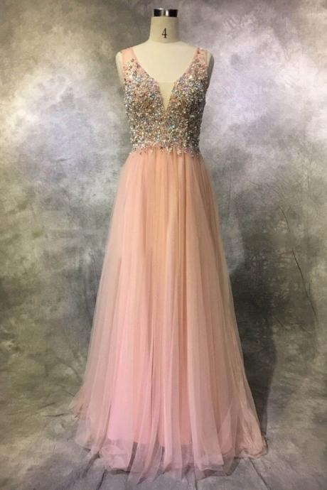 Beaded Pink Plunging V Neck Prom Gown,Backless Formal Gown,2017 Tulle Long Party Dress
