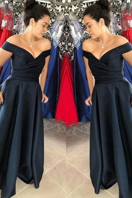 Navy Blue Off The Shoulder Prom Dress,A Line Ruched Bodice Pageant Gown