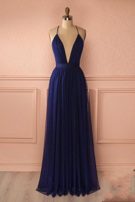 Navy Blue Deep V Neck Long Party Dress,Backless Formal Gown,Bridesmaid Dress