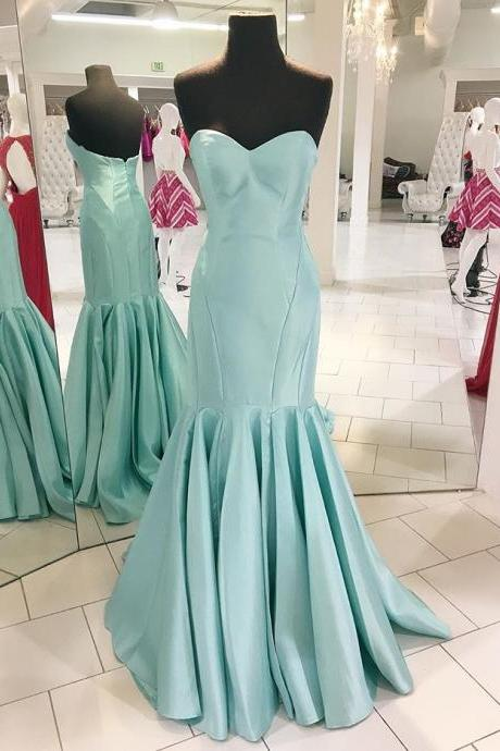 Spa Sweetheart Prom Dress, Satin Mermaid Formal Gown,2017 New Arrival Prom Gown