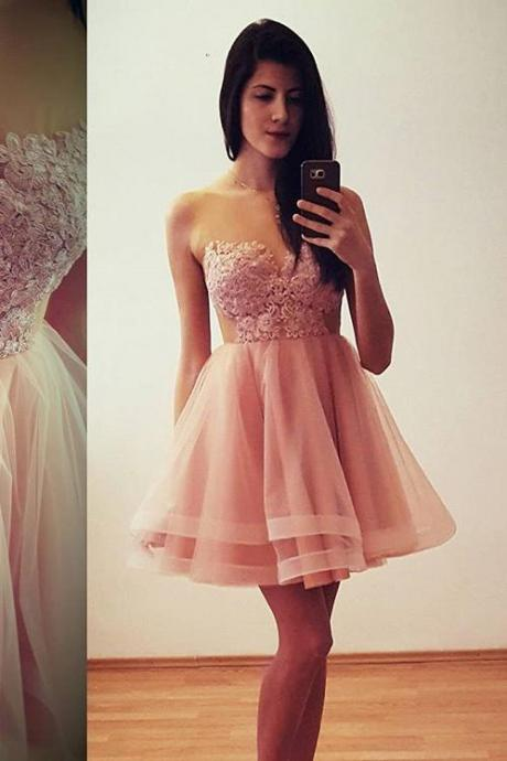 Sweetheart Cocktail Dress, Illusion Homecoming Dress With Keyhole Back, Lace Appliques