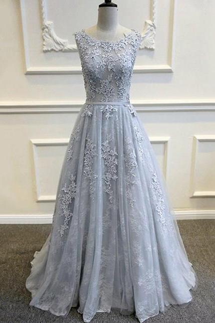 Gorgeous Grey Lace Prom Dress,Pageant Gown,Backless Silver Formal Gown With Lace Appliques