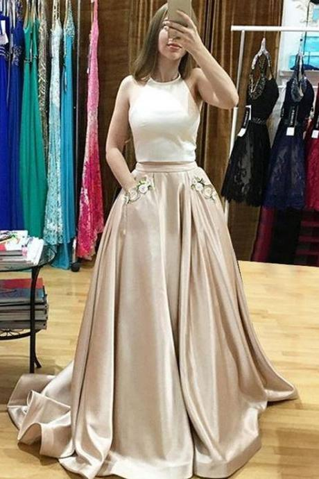 2017 Ivory/ Champagne Two Piece Prom Dress,Halter Satin Formal Gown With Two Pockets