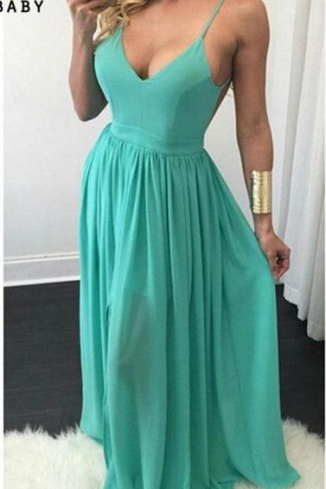 Tiffany V Neck Prom Dress,Backless Long Party Dress, Formal Gown With Spaghetti Straps