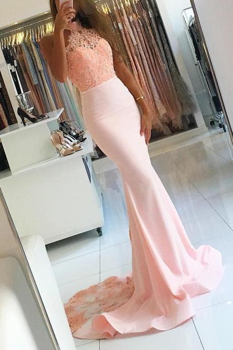 Gorgeous Pink High Neck Prom Dress, Mermaid Formal Gown With Lace Top, Sweep Train