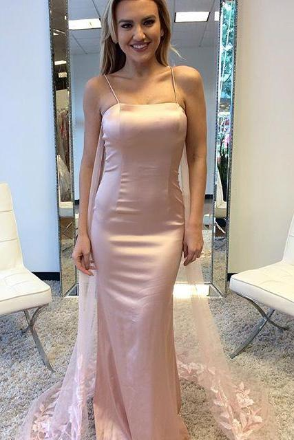 Gorgeous Pink Strapless Prom Dress, Fitted Evening Dress With Spaghetti Straps