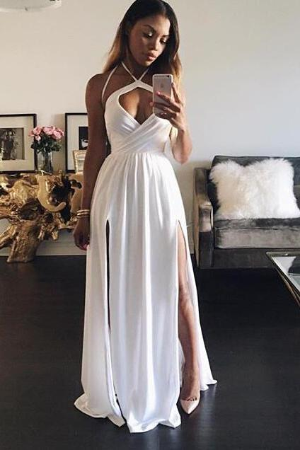 Custom Made White Halter Long Party Dress, Chiffon Slit Prom Dress With Cut Out Bodice