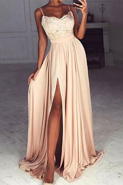 Blush Sweetheart Prom Dress, Floor Length Formal Gown, Evening Dress With Lace Bodice