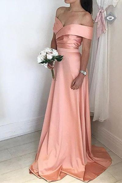 Satin Bridesmaid Dress, Off The Shoulder Formal Gown, Prom Dress With Ruched Bodice