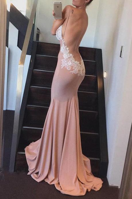 Sexy Backless Mermaid Formal Gown, V Neck Empire Prom Dress With Lace Bodice