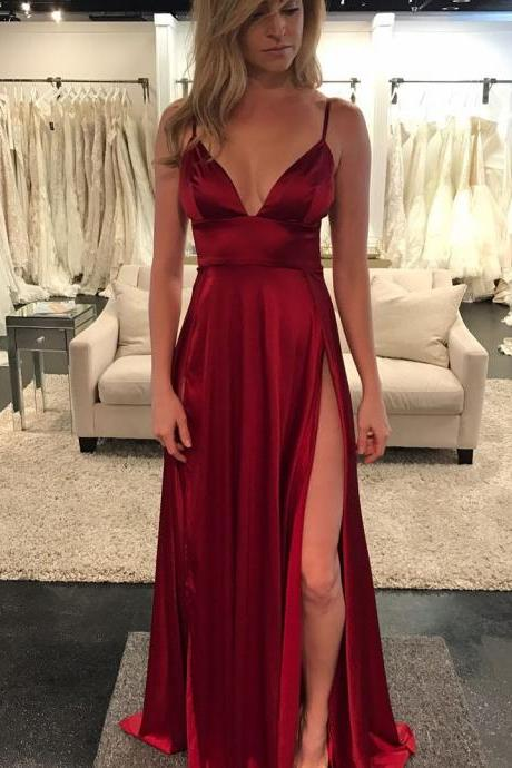 Sexy Wine Red V Neck Formal Gown,Fitted Emipre Satin Prom Dress With High Slit