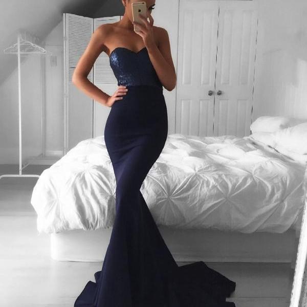 Navy Blue Sweetheart Mermaid Prom Dress,Formal Gown With Sequined Bodice