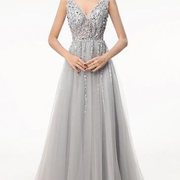 Free Custom Sleeveless V Neck Prom Dress Silver Formal Evening Gown With Beaded Bodice