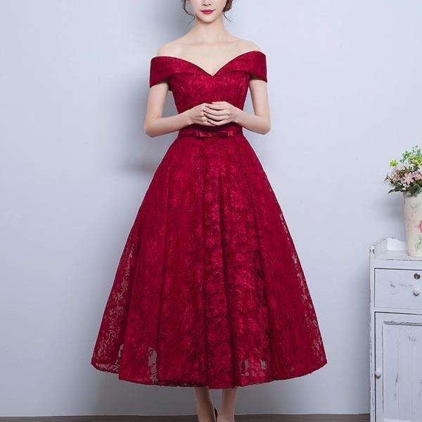 Burgundy Lace A-Line Off-the-Shoulder Party Dresses, Tea-Length Bow Belt Formal Gowns, 2019 Homecoming Dresses With Lace-Up Back