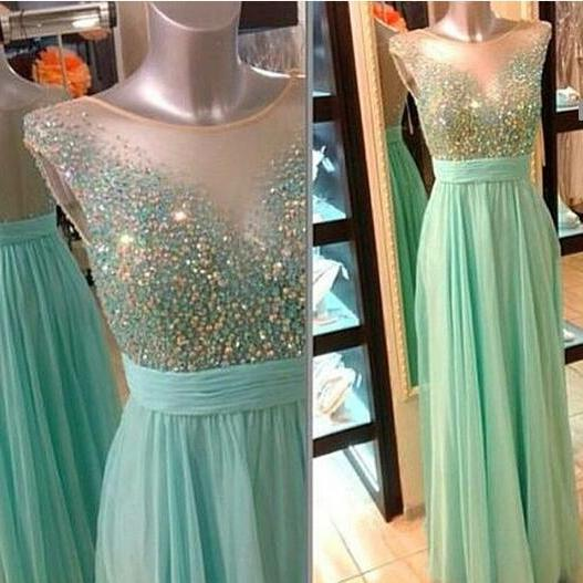 Mint Green illusion Neckline Beaded Prom Dress With Sheer Back