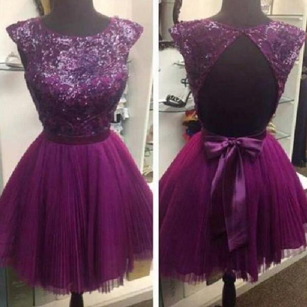 2015 Plum Tulle Beaded Cocktail Dress With Open Back