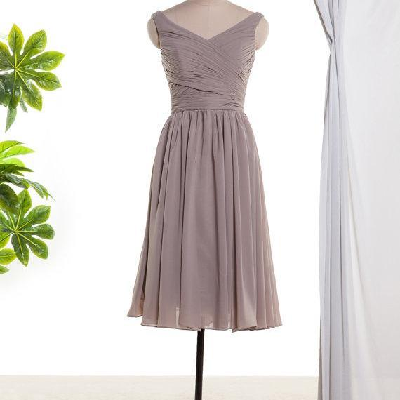 Brown Chiffon Pleated Knee Length Bridesmaid Dress