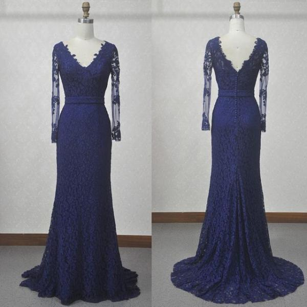 Designer Navy Blue Lace Long Sleeves Mermaid Evening Gown With V Back