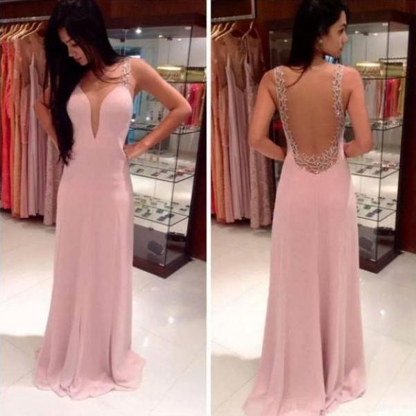 Pink Chiffon Open Back Evening Gown With Sheer Cut Out Bodice