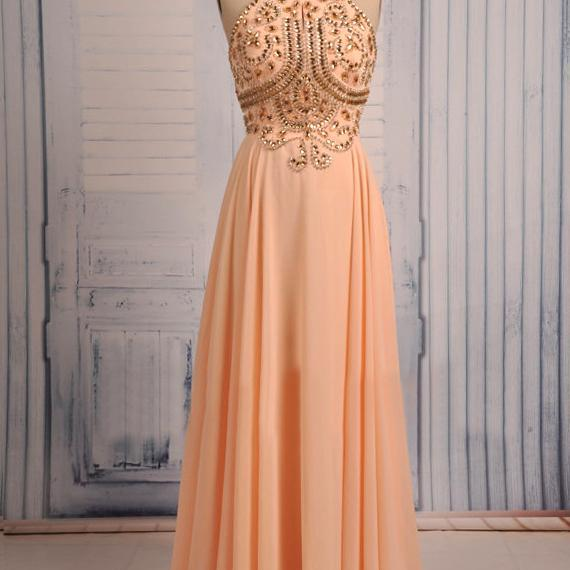 2015 Halter Chiffon Floor Length Prom Dress With Beaded Bodice