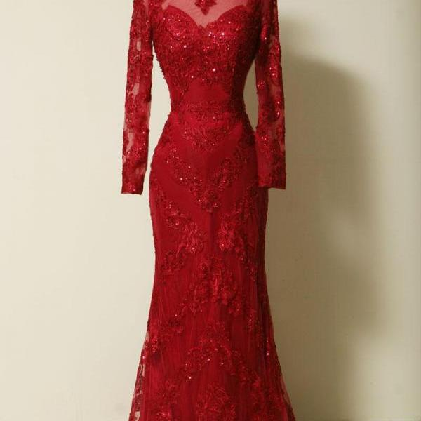 Red Lace Long Sleeves Sheath Evening Gown With Sweep Train