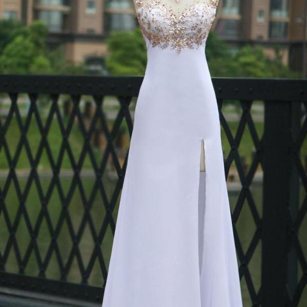 White Chiffon Empire Beaded Prom Dress With Slit Skirt