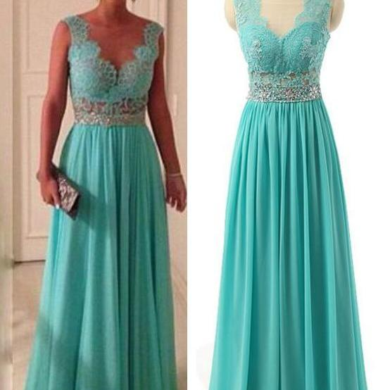 Fashion Mint Green Chiffon Formal Prom Gown With Sheer Back