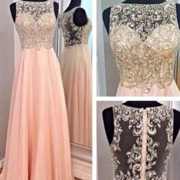 Pink Chiffon Boat Neckline Prom Dress With Beading