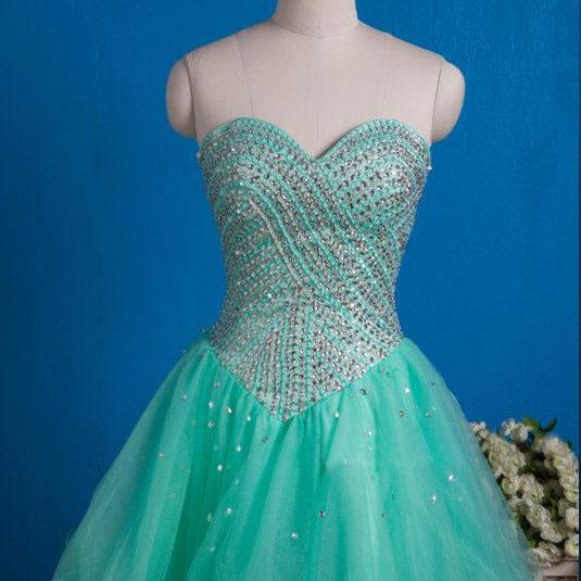 Mint Green Tulle Beaded Sweetheart Cocktail Dress With Lace Up