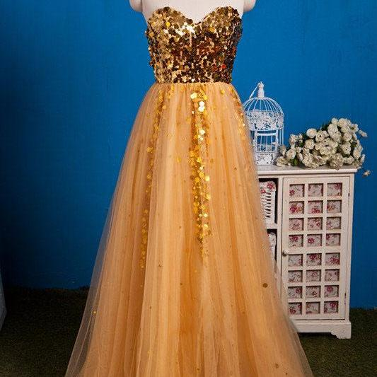 Gold Tulle Sweetheart Floor Length Prom Dress With Sequined Bodice