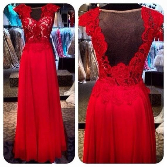 Red Chiffon Cap Sleeves Formal Evening Gown With Lace Bodice