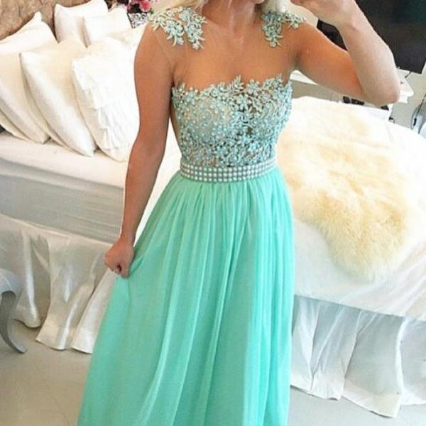 Mint Green Chiffon illusion Neckine Beaded Prom Dress With Lace Appliques Bodice