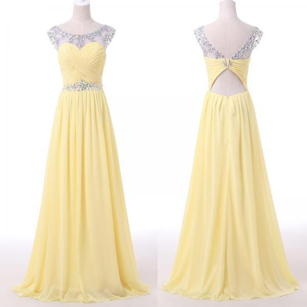 2016 Yellow Beaded Illusion Chiffon Prom Dress With Cut Out Back