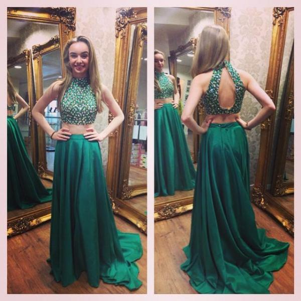Green Beaded High Neck Two Piece Prom Dress , Keyhole Back Formal Gown