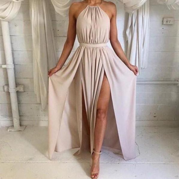 Nude Halter Silk Satin Open Back Maxi Long Party Dress With High Slit
