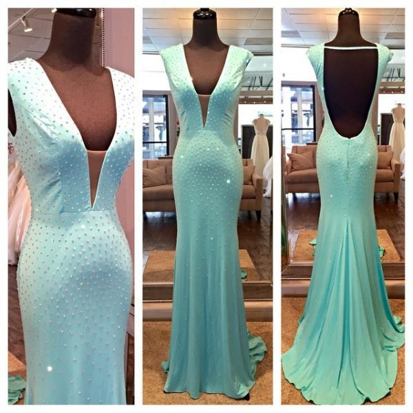 Fitted Ice Blue Jersey Plunging V Neck Formal Gown With Open Back