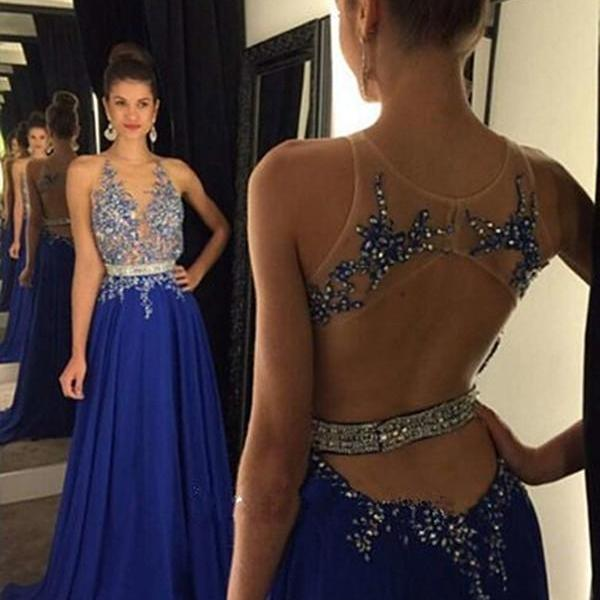 Royal Blue V Neck Open Back Chiffon Prom Dress With Beaded Sheer Bodice