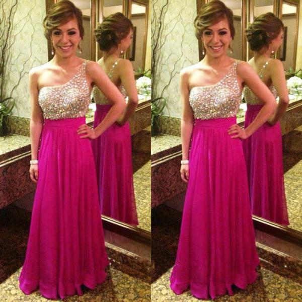 Fuchsia One Shoulder Chiffon Prom Dress With Beaded And Crystals Sheer Bodice