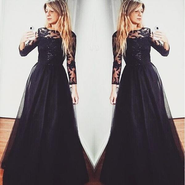 Long Sleeve White Lace Bodice Chiffon Skirt Elegant Simple: 2016 Black Long Sleeves Backless Prom Gown With Sequined