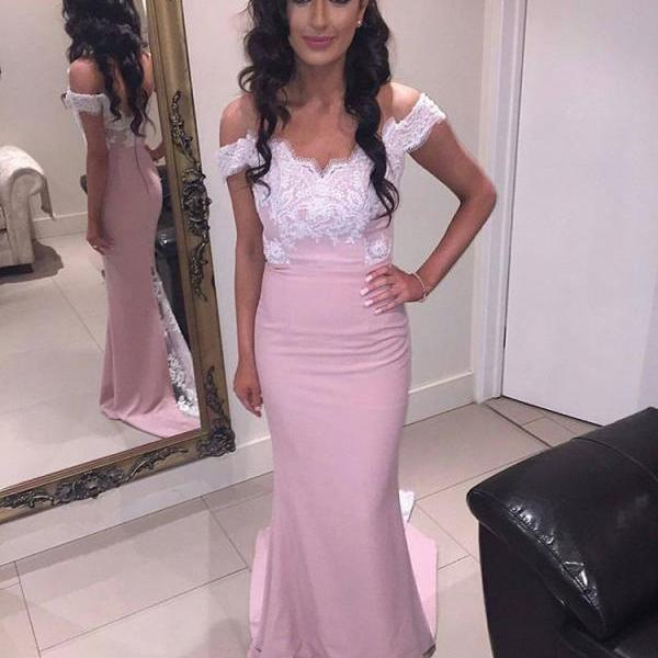 Pink Off The Shoulder Fitted Prom Dress, Evening Gown With Lace Bodice