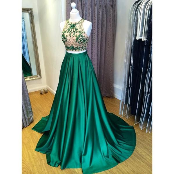 Green Two Piece Cut Out Shoulder Prom Dress, Formal Gown Beaded Crop Top